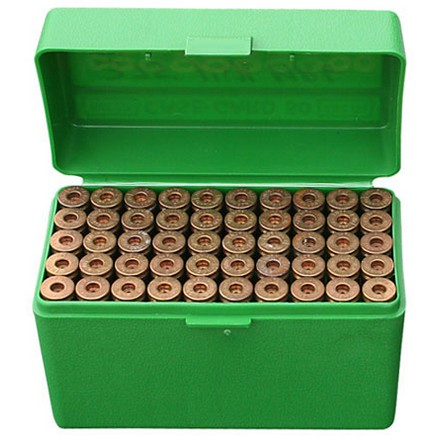 Flip Top 50 Round Ammo Box 270, 30-06,  25-05 Green