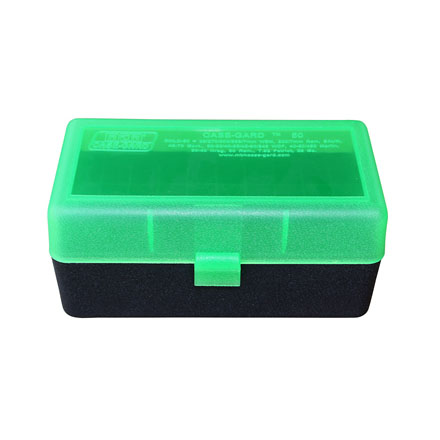 Image for Flip Top 50 Round Ammo Box 270 Win, 30-06, 25-06 Clear Green and Black