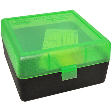 Flip Top 100 Round Ammo Box 22-250/308/243/7mm-08 Clear Green With Black Bottom