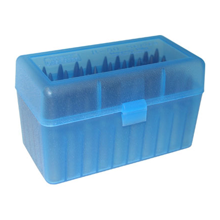 Flip Top 50 Round Ammo Box For WSM Calibers and 45-70 Blue