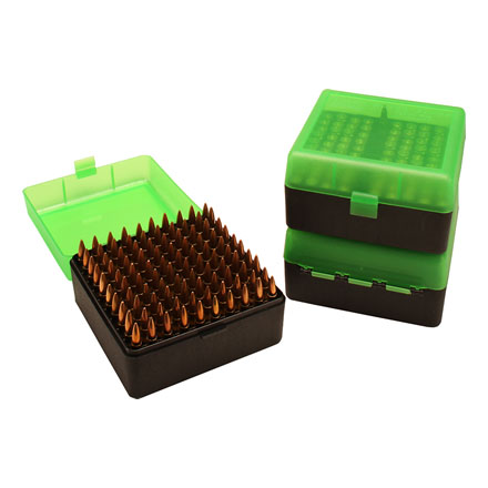 Flip Top Ammo Box Small Rifle 100 Round Clear/Green/Black
