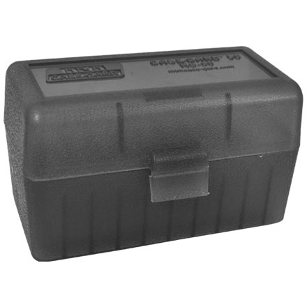 Flip Top 50 Round Ammo Box 22-6mm Clear Smoke Lid and Black Base