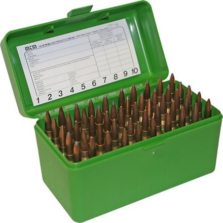 Flip Top 50 Round Ammo Box For WSSM Calibers & 500 S&W Green