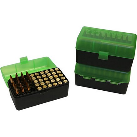 Flip Top 50 Round Ammo Box For WSSM Calibers & 500 S&W Clear Green