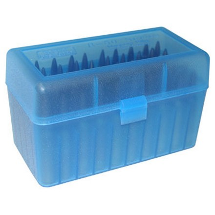 Flip Top 50 Round Ammo Box For WSSM Calibers & 500 S&W Clear Blue