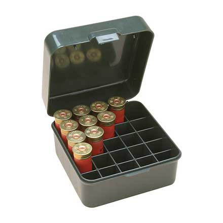 "Flip Top 25 Round Dual Gauge Shotshell Ammo Box 12 and 20 Gauge Up To 3"" Green"
