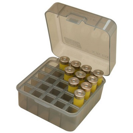 "Flip Top 25 Round Dual Gauge Shotshell Ammo Box 12 and 20 Gauge Up To 3"" Clear Smoke"