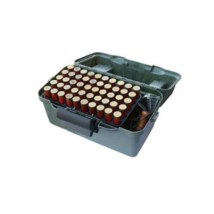 Flip Top 100 Round Shotshell Ammo Box With (2) 50 Round Trays 12 and 20 Gauge