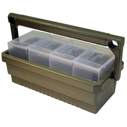 Shotshell Box Caddy with 4 12 Gauge Boxes (SS25s) Army Green with Clear Boxes
