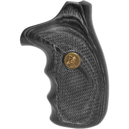 S&W K&L Frame Checkered Charcoal Silvertone Deluxe Laminated Revolver Grip