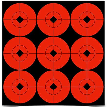"2"" Flourescent Red Self Adhesive Target Spots 90-2"" (10 Sheets Total)"
