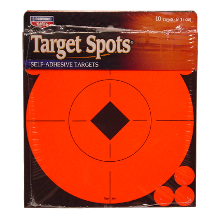 "6"" Flourescent Red Self Adhesive Target Spots 10 - 6"" Target (10 Sheet Pack)"