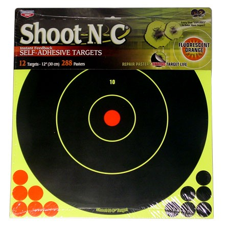 "Shoot-N-C 12"" Round Bulls Eye Adhesive Target (12 Pack)"