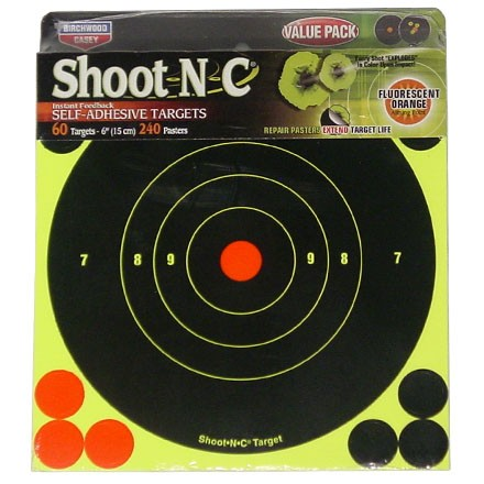"Image for Shoot-N-C 6"" Round Bulls Eye Adhesive Target (60 Pack)"