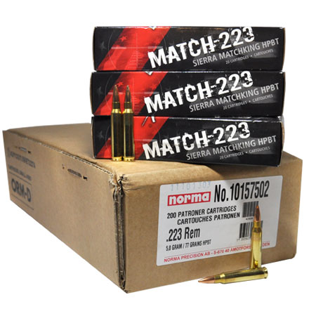 Image for 223 Remington Match 77 Grain Sierra Match King Hollow Point Boat Tail 200 Round Case