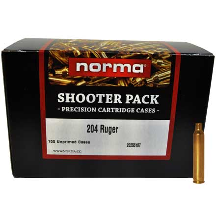 .204 Ruger Unprimed Brass 100 Count  Shooter Pack