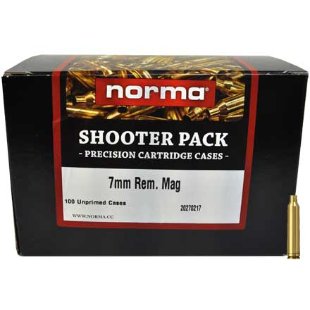 7mm Remington Mag Unprimed Brass 100 Count Shooter Pack
