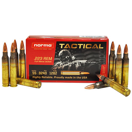 Norma Tactical 223 Rem 55 Grain FMJ 20 Rounds