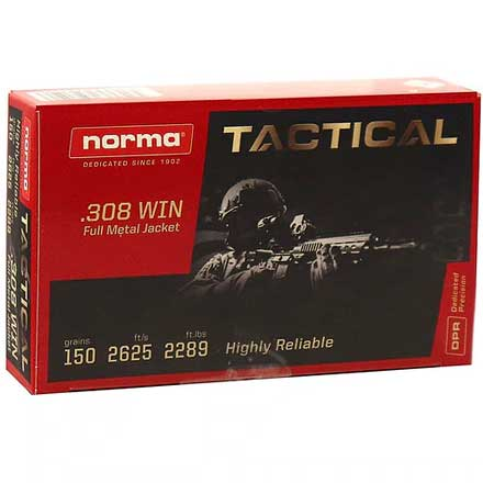 Norma Tactical 308 Winchester Full Metal Jacket 150 Grain 20 Rounds
