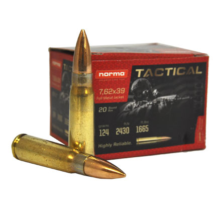 Norma 7.62x39 Brass Cased Ammo 124 Grain FMJ  20 Count