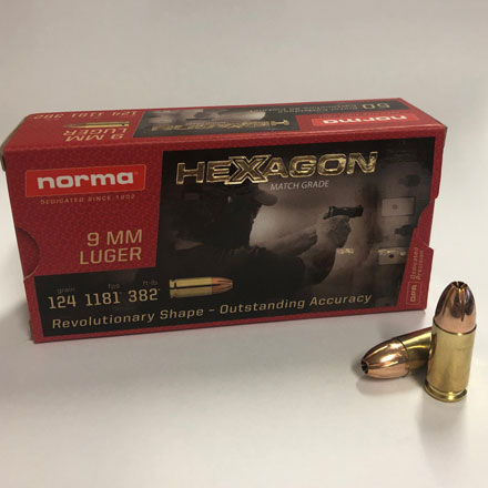 Norma Match Grade 9mm Luger 124 Grain Hexagon Hollow Point 50 Rounds