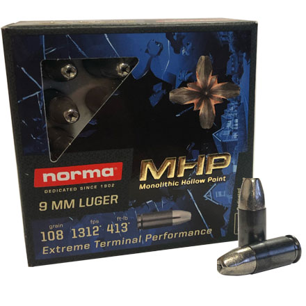 9mm Luger MHP 108 Grain Monolith Hollow Point 20 Rounds