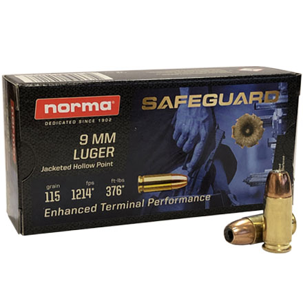Norma 9mm 115 Grain JHP SafeGuard Series 50 Rounds