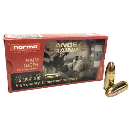 Norma 9mm Range and Training  FMJ 115 Grain  50 Round Box