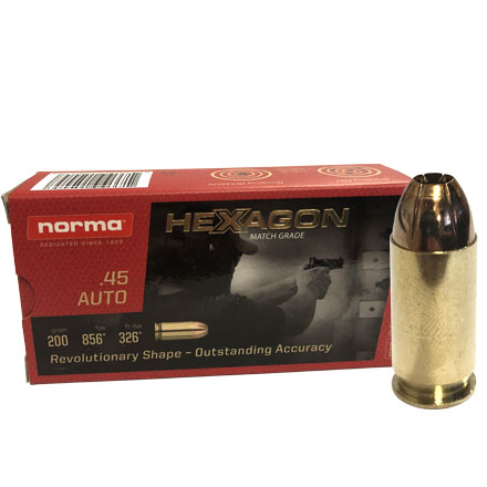 Norma 45 Auto 200 Grain Match Grade Hexagon Hollow Point  50 Rounds