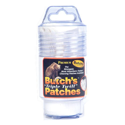 Butchs Triple Twill Cleaning Patch 10, 12, and 16 Gauge 75 Count