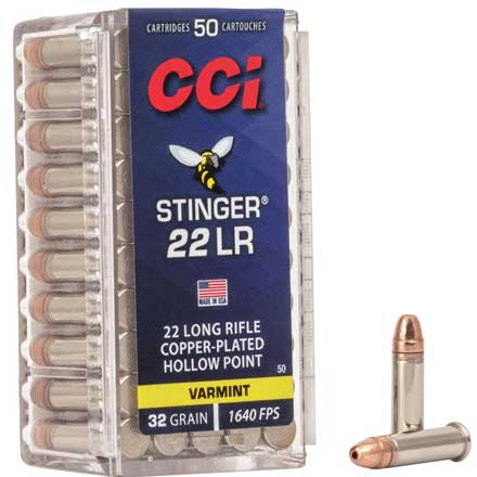 22 LR (Long Rifle) 32 Grain Hollow Point Stinger 50 Rounds