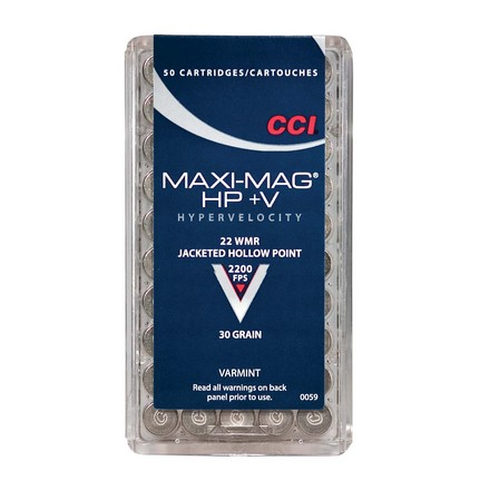 22 WMR+V (Plus Velocity) 30 Grain Hollow Point Max-Mag 50 Rounds