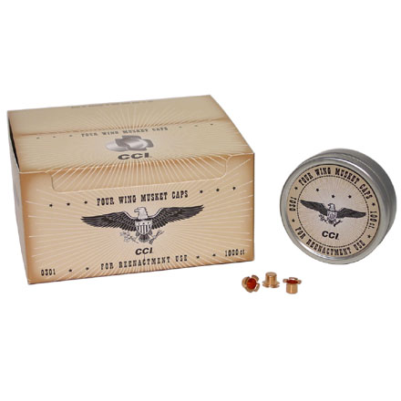 Image for U.S. Musket Caps 4 Wing (1000 Count)