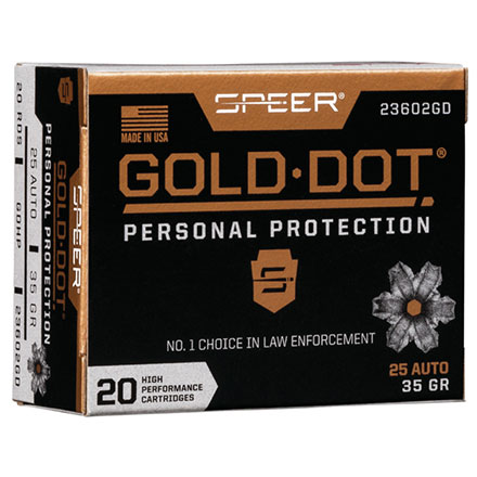 25 Auto 35 Grain Gold Dot Hollow Point 20 Rounds