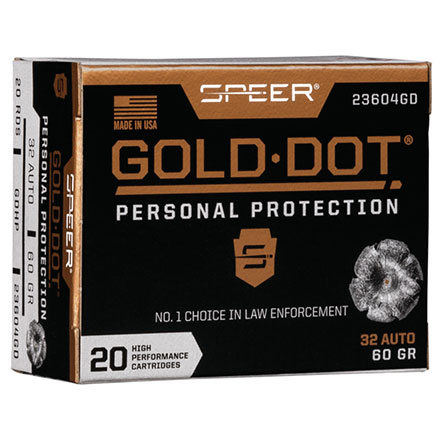 32 ACP 60 Grain Gold Dot Hollow Point 20 Rounds