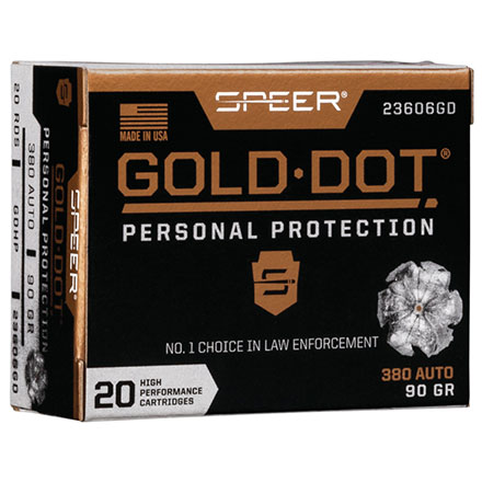 380 ACP 90 Grain Gold Dot Hollow Point 20 Rounds