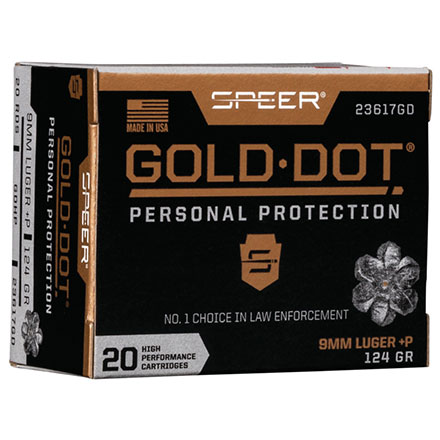 9mm Luger Plus P 124 Grain Gold Dot Hollow Point 20 Rounds