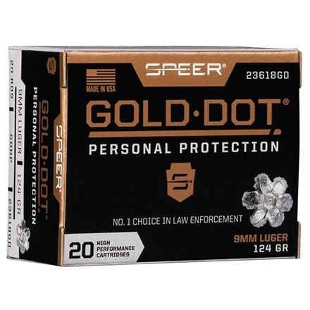 9mm Luger 124 Grain Gold Dot Hollow Point 20 Rounds