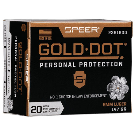 9mm Luger 147 Grain Gold Dot Hollow Point 20 Rounds