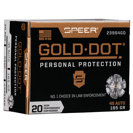 45 ACP 185 Grain Gold Dot Hollow Point 20 Rounds
