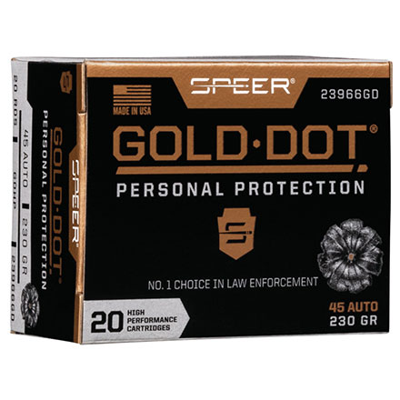 45 ACP 230 Grain Gold Dot Hollow Point 20 Rounds