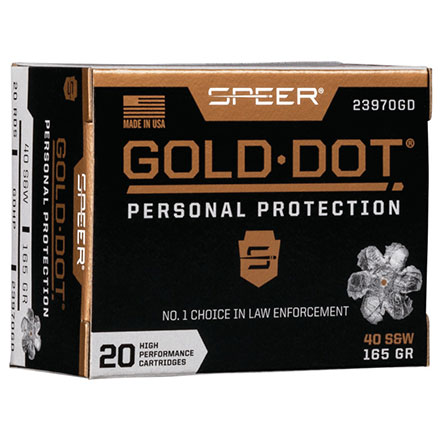 40 S&W 165 Grain Gold Dot Hollow Point 20 Rounds