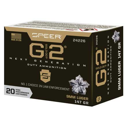 9mm Luger 147 Grain Gold Dot G2 20 Rounds
