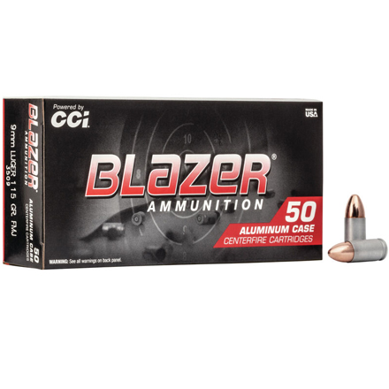 9mm Luger 115 Grain Blazer Full Metal Jacket Aluminum Case 50 Rounds