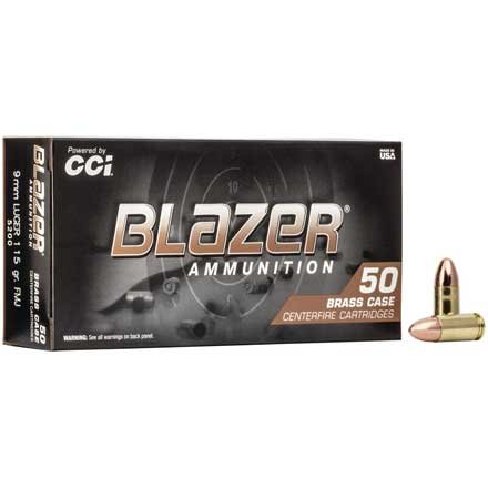 9mm Luger 115 Grain Blazer Brass Full Metal Jacket 50 Rounds