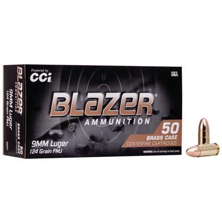 Image for 9mm Luger 124 Grain Blazer Brass Full Metal Jacket 50 Rounds
