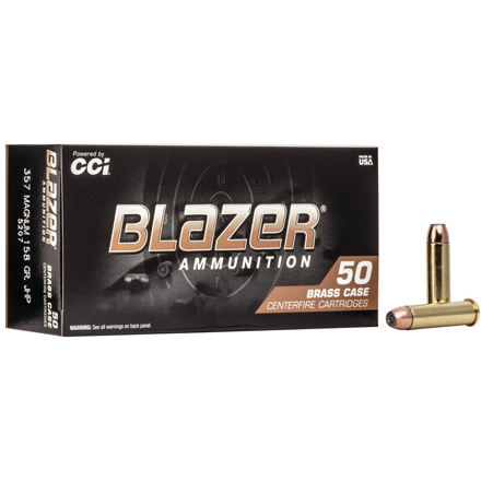 357 Mag 158 Grain Blazer Brass Jacketed Hollow Point 50 Rounds