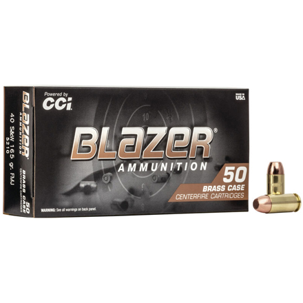 40 S&W 165 Grain Blazer Brass Full Metal Jacket 50 Rounds