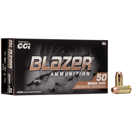 40 S&W 180 Grain Blazer Brass Full Metal Jacket 50 Rounds