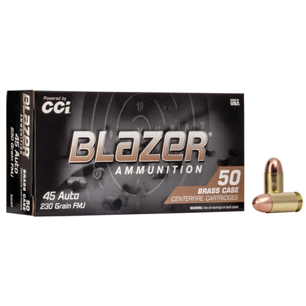 45 ACP 230 Grain Blazer Brass Full Metal Jacket 50 Rounds